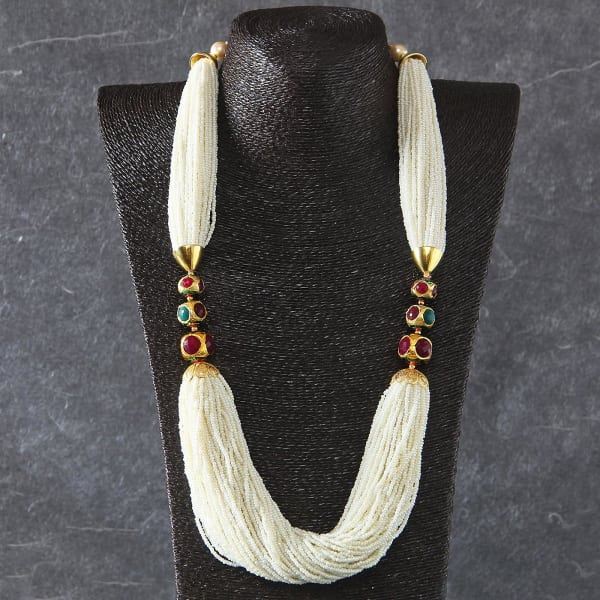 Designer Pearl Necklace Studded with Ruby and Emerald