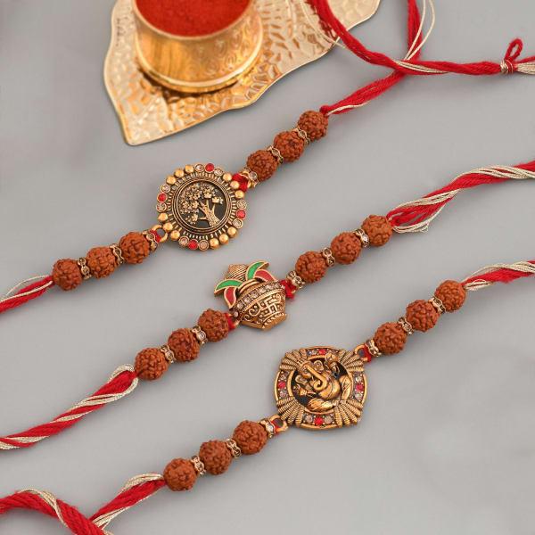Divine Rudraksh And CZ Rakhi (Set of 3)