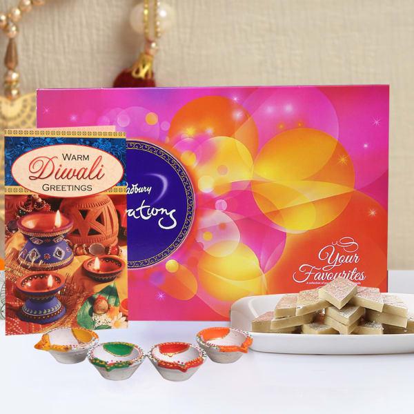 Diwali Card With Cadbury Celebrations & Kaju Katli 500 Gms With 4 Diyas