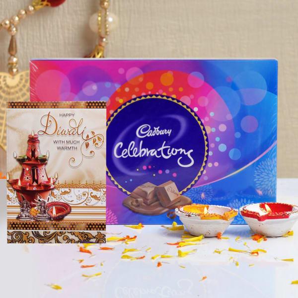 Diwali Card With Cadbury Celebrations & Two Earthen Diyas