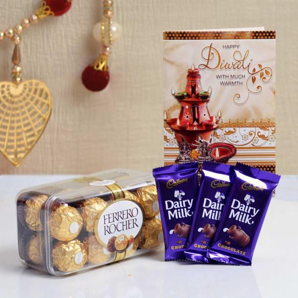 Diwali Card With Cadbury Dairy Milk Chocolate & Ferrero Rocher Box