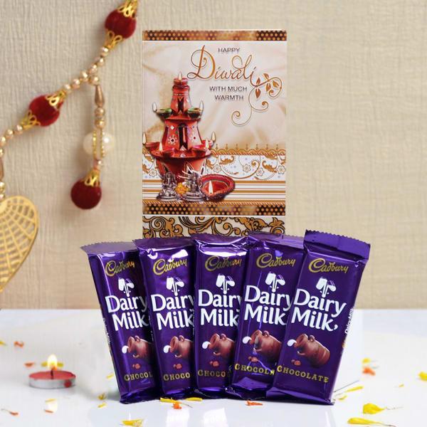 Diwali Card With Cadbury Dairy Milk Chocolates
