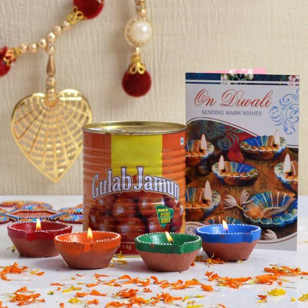 Diwali Card With Four Earthen Diyas & Gulab Jamun 1 Kg