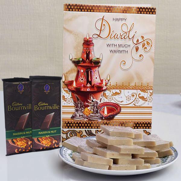 Diwali Card With Kaju Katli 500 Gms & 2 Bournville Chocolates