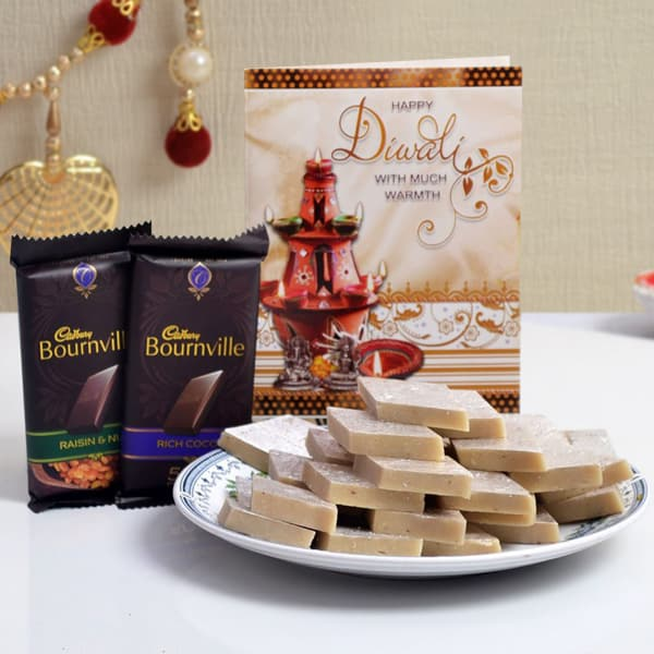 Diwali Card With Kaju Katli 500 Gms & Cadbury Bournville