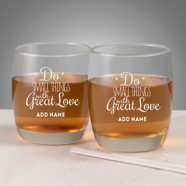 Do Great Things with Love Personalized Whiskey Glasses