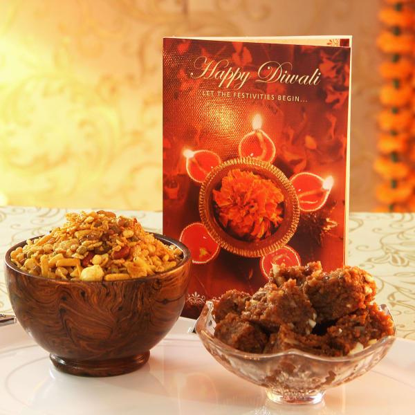 Dodha Barfi with Kanha Mix Namkeen and Diwali Greeting Card