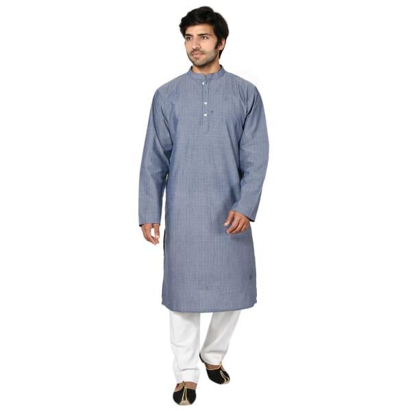 Dove Grey Cotton Long Kurta For Men