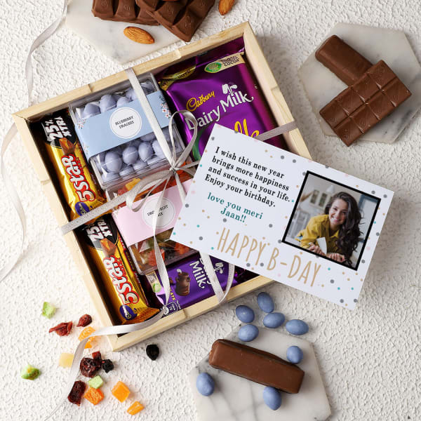 Dragees And Chocolates In Wooden Tray With Personalized Birthday Card
