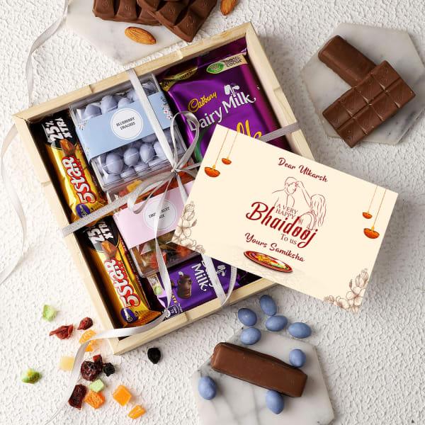 Dragees And Chocolates Personalized Bhai Dooj Hamper