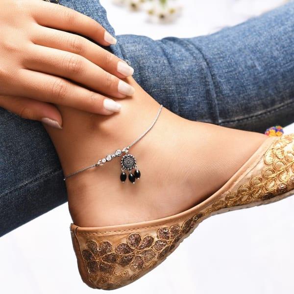 Dreamcatcher Inspired Oxidised Anklet