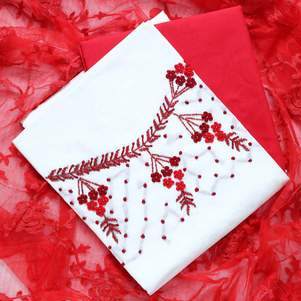 Dress Material with Embroidery Work on Net Dupatta