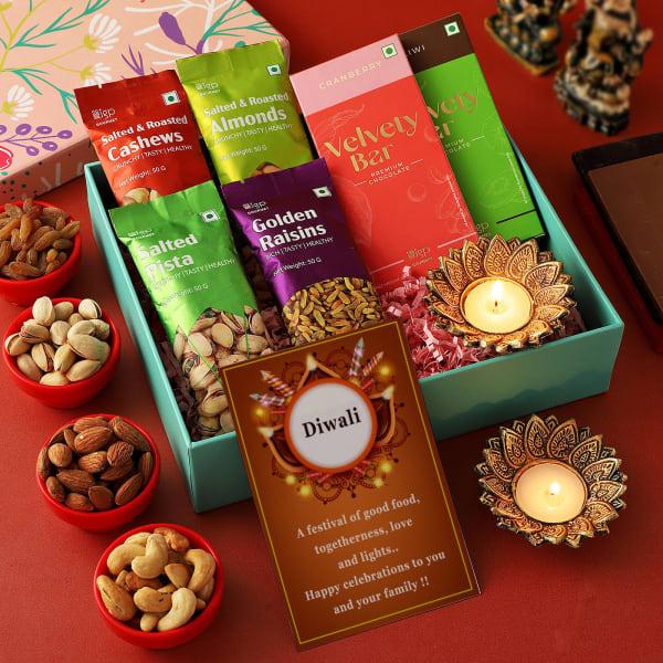 Dry Fruits And Chocolates Diwali Gift Box