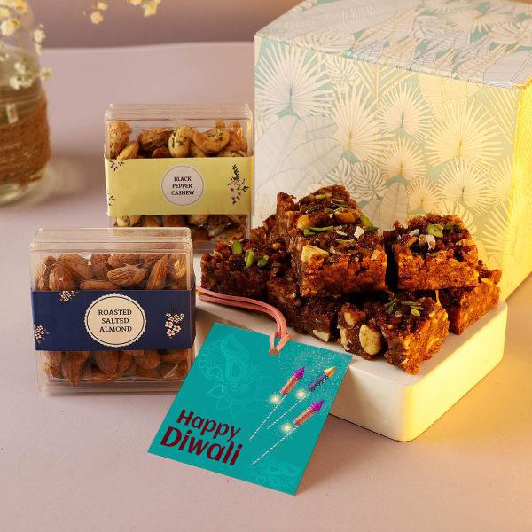 Dry Fruits And Doda Barfi In Diwali Gift Box