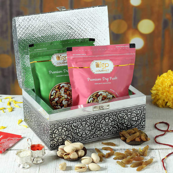 Dry Fruits in Oxidized Wooden Box with Roli, Chawal & Moli