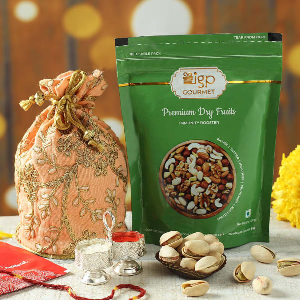 Dry Fruits Potli with Roli Chawal Container & Moli