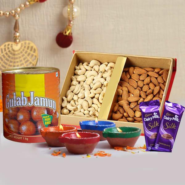Dryfruits 400 Gms With 4 Diyas & Gulab Jamun 1 Kg With Dairy Milk Silk