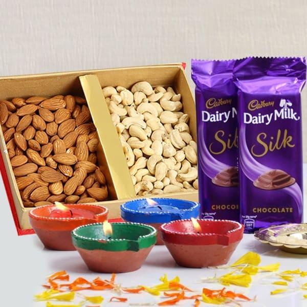 Dryfruits 400 Gms With Dairy Milk Silk Chocolates & 4 Earthen Diyas