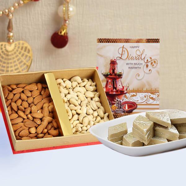 Dryfruits 400Gms With Kaju Katli 500 Gms & Diwali Card