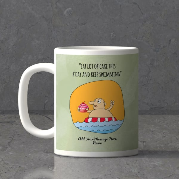 Eat A Lot Of Cake Personalized Birthday Mug