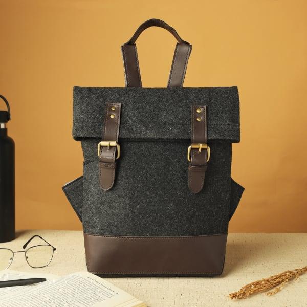 Eco-Friendly Felt Backpack - Dark Grey