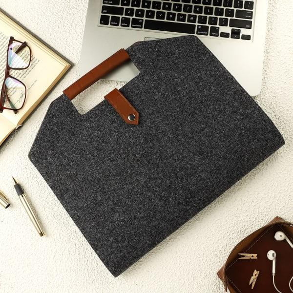 Eco-Friendly Felt Laptop Bag - Dark Grey