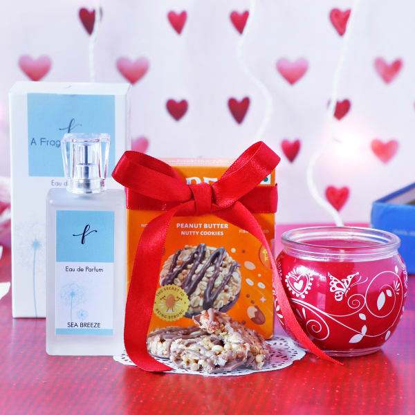 EDP Sea Breeze Perfume With Candle & Cookies