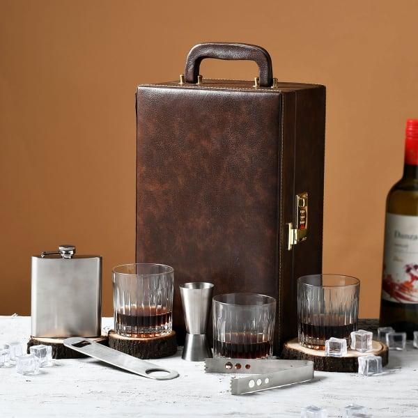 Elegant Brown Portable Bar Set