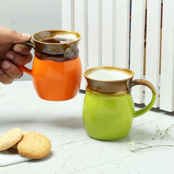 Elegant Coffee and Milk Mugs (Set Of 2)