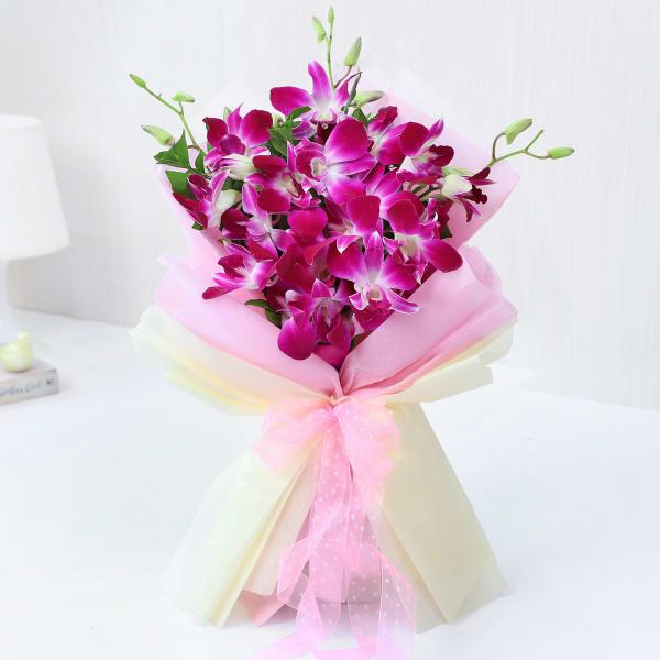 Elegant Purple Orchids Ribbon Bouquet