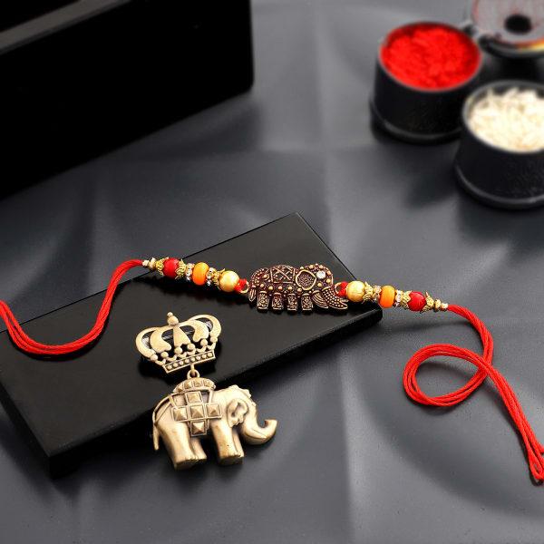 Elephant Rakhi With Brass Brooch