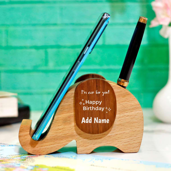 Elephant Shaped Birthday Personalized Mobile and Pen Holder