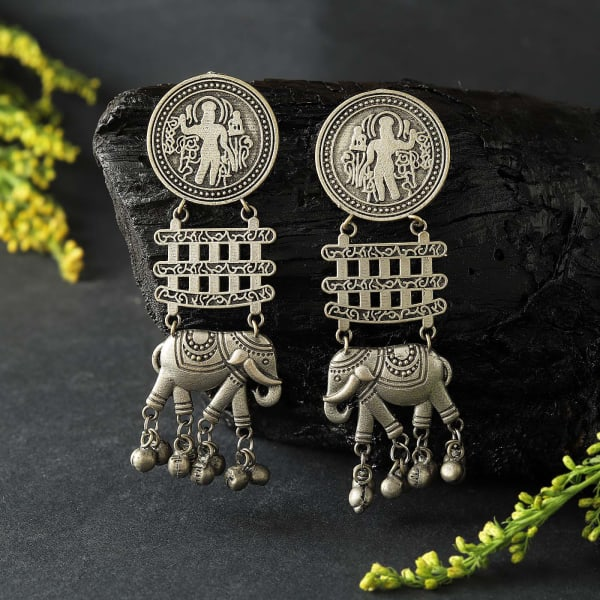 Elephant Shaped Silver Oxidized Matte Finish Jumka Earrings