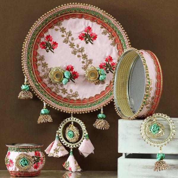 Embroidery Designer Karwa Chauth Thali Set