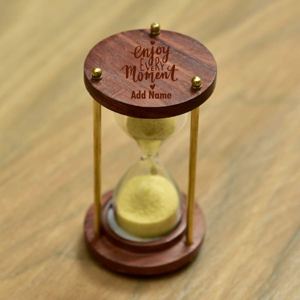 Engravable Sheesham Wood And Brass Hour Glass Sand Timer