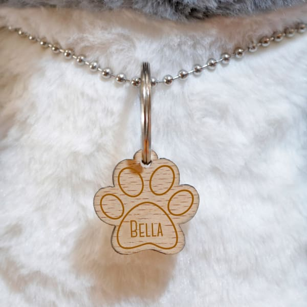 Engraved Paw Shaped Pet Tag