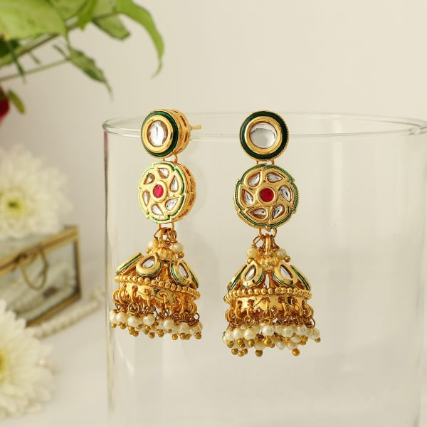 Ethnic Kundan Jhumka Earrings