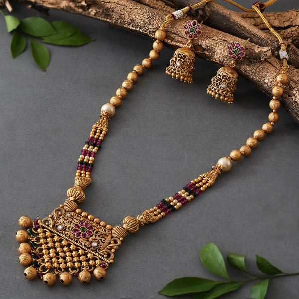 Ethnic Red Beads Necklace set