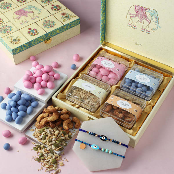 Evil Eye Rakhis With Premium Goodies Gift Box