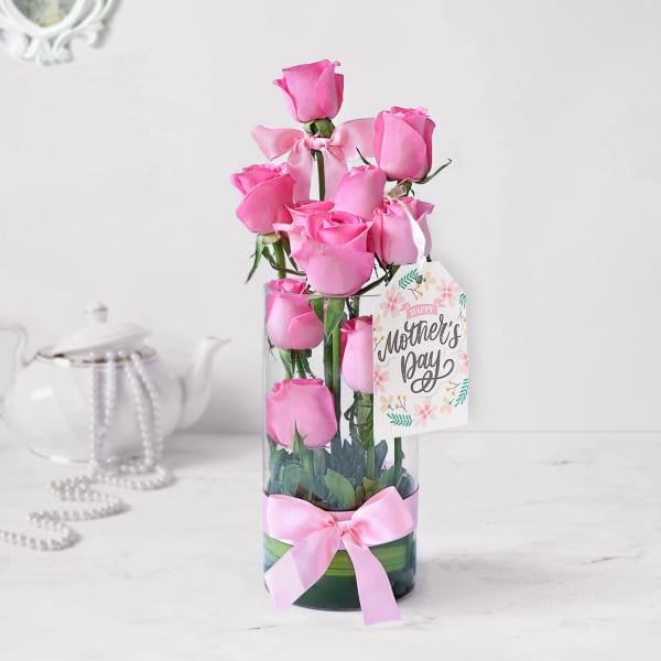 Exotic Pin Roses in Tube Vase for Mom