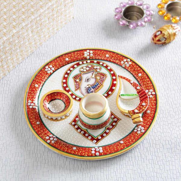 Exquisite Meena and kundan Work Marble Puja Thali
