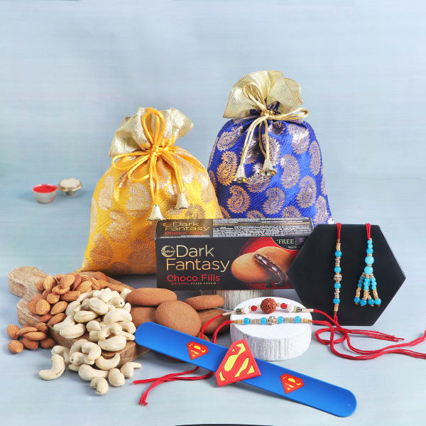 Family Rakhi Set Of 5 With Cookies And Dry Fruits In Potlis