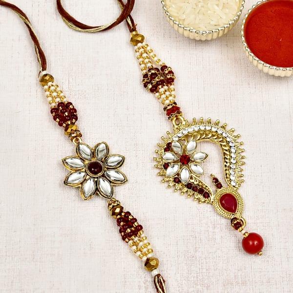 Fancy Bhaiya and Lumba Rakhi Decorated with Kundan & Pearls