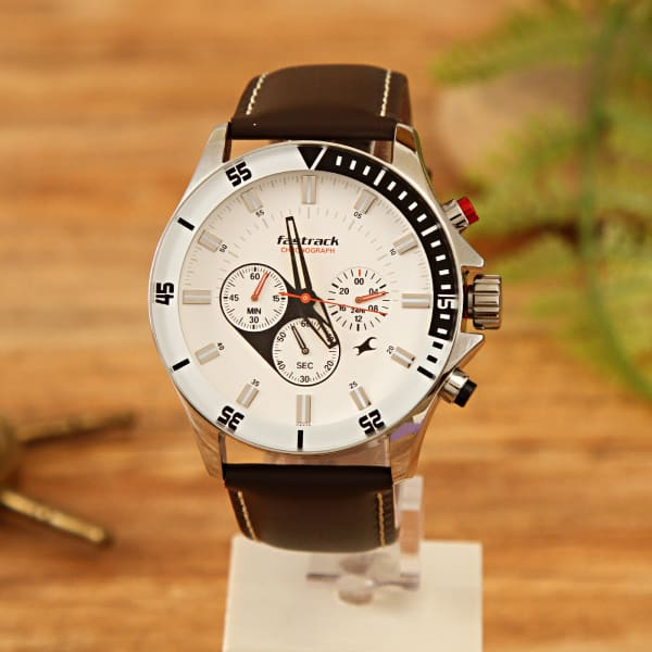Fastrack Black Leather Belt Watch with White Dial for Men