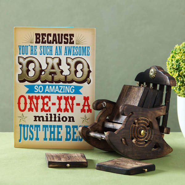 Father of the Year Greeting Card with Set of 6 Wooden Coasters