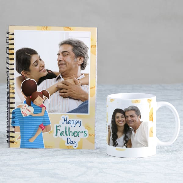 Father's Day Personalized Photo Notebook & Mug Combo