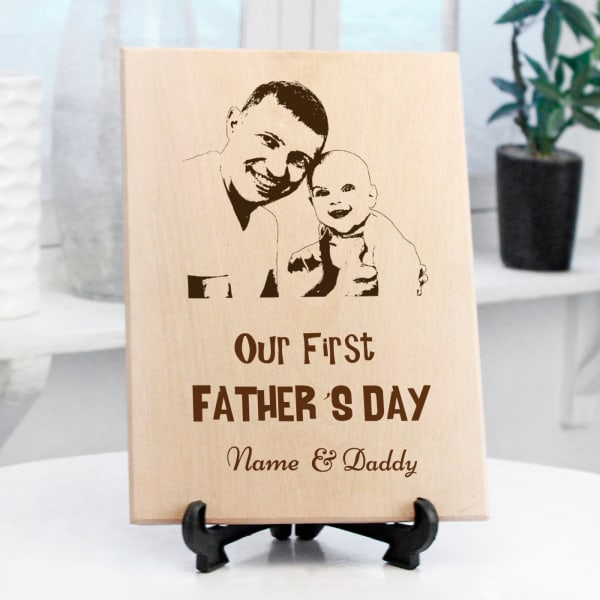 Fathers Day Personalized Wooden Photo Frame