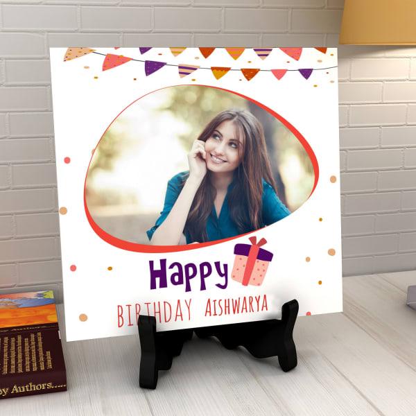 Festoons Personalized Birthday Tile