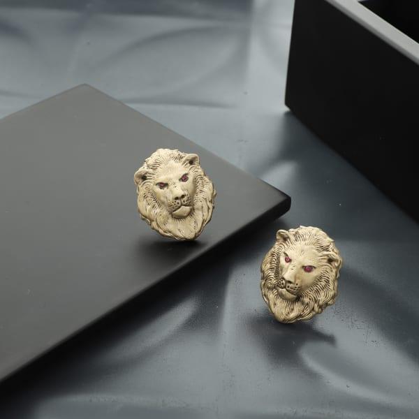 Fierce Lion Head Brass Cufflinks For Men