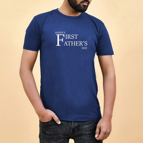 First Father's Day Blue Cotton T Shirt